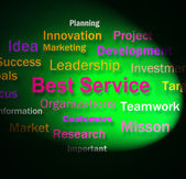 Best Service Words Shows Steps For Delivery Of Services — Stock Photo