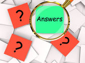 Questions Answers Post-It Papers Mean Inquiries And Solutions — Stockfoto