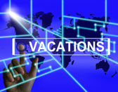 Vacations Screen Means Internet Planning or Worldwide Vacation T — Zdjęcie stockowe