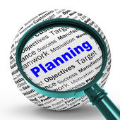 Planning Magnifier Definition Means Mission Planning Or Objectiv — Stock Photo