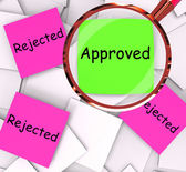 Approved Rejected Post-It Papers Means Approval Or Rejection — Stockfoto