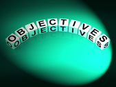 Objectives Dice Show Motivation Aims and Goals — Stock Photo