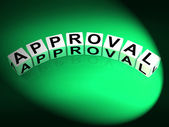 Approval Dice Show Validation Acceptance and Approved — Stock Photo