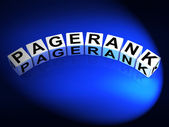Pagerank Dice Refer to Page Ranking Optimization — Stock Photo