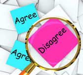 Agree Disagree Post-It Papers Mean Opinion And Point Of View — Stock Photo
