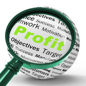 Profit Magnifier Definition Means Company Growth Or Performance — Stock Photo
