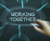Working Together Diagram Means Teams And Cooperating — Stock Photo