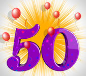 Number Fifty Party Mean Red Wax Or Bright Flame — Stock Photo