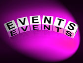 Events Dice Represent Functions Experiences and Occurrences — Stockfoto