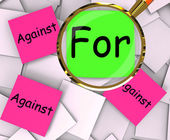For Against Post-It Papers Show Agree Or Disagree To — Stock Photo