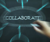 Collaborate Diagram Shows Working Together And Synergy — Stock Photo