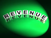 Revenue Dice Mean Finances Revenues and Proceeds — Stock Photo