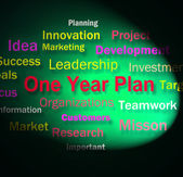 One Year Plan Words Means Goals For Next Year — Stock Photo