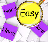Easy Hard Post-It Papers Mean Simple Or Tough — Zdjęcie stockowe