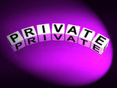 Private Dice Refer to Confidentiality Exclusively and Privacy — Stock Photo