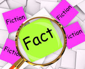 Fact Fiction Post-It Papers Mean Truth Or Myth — Stock Photo