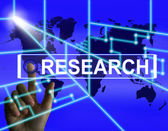 Research Screen Represents Internet Researcher or Experimental A — Stock Photo