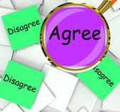 Agree Disagree Post-It Papers Mean For Or Against — Stock Photo