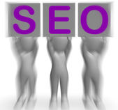 SEO Placards Mean Optimized Web Search And Development — Stock Photo