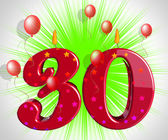 Number Thirty Party Mean Red Cake Candles Or Birthday Candles — Zdjęcie stockowe