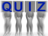 Quiz Placards Means Quiz Games Or Exams — Zdjęcie stockowe