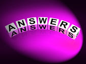Answers Dice Represent Responses and Solutions to Questions — Stock Photo