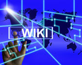 Wiki Screen Means Internet Information and Encyclopaedia Website — Stock Photo