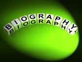 Biography Dice Represent Writing a Memoir or Life Story — Stock Photo