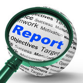 Report Magnifier Definition Shows Progress Statistics And Financ — Stock Photo