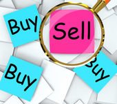 Buy Sell Post-It Papers Mean Sellers And Consumers — Stock Photo