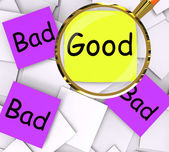 Good Bad Post-It Papers Show Excellent Or Dreadful — Stock Photo