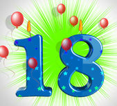 Number Eighteen Party Show Teen Birthday Or Decoration — Stock Photo