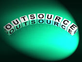 Outsource Dice Show Outsourcing and Contracting Employment — ストック写真