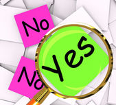 Yes No Post-It Papers Mean Answers Affirmative Or Negative — Stock Photo