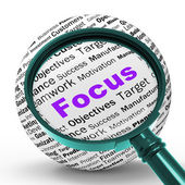 Focus Magnifier Definition Shows Concentration And Targeting — Stock Photo
