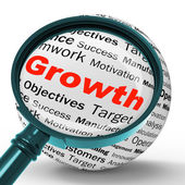 Growth Magnifier Definition Shows Business Progress Or Improveme — Stock Photo