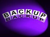 Backup Dice Mean Store Restore or Transfer Documents or Files — Stock Photo