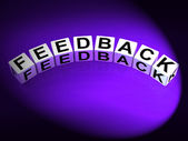 Feedback Dice Means Comment Evaluate and Review — Stock Photo
