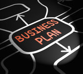 Business Plan Arrows Means Goals And Strategies For Company — Stock Photo