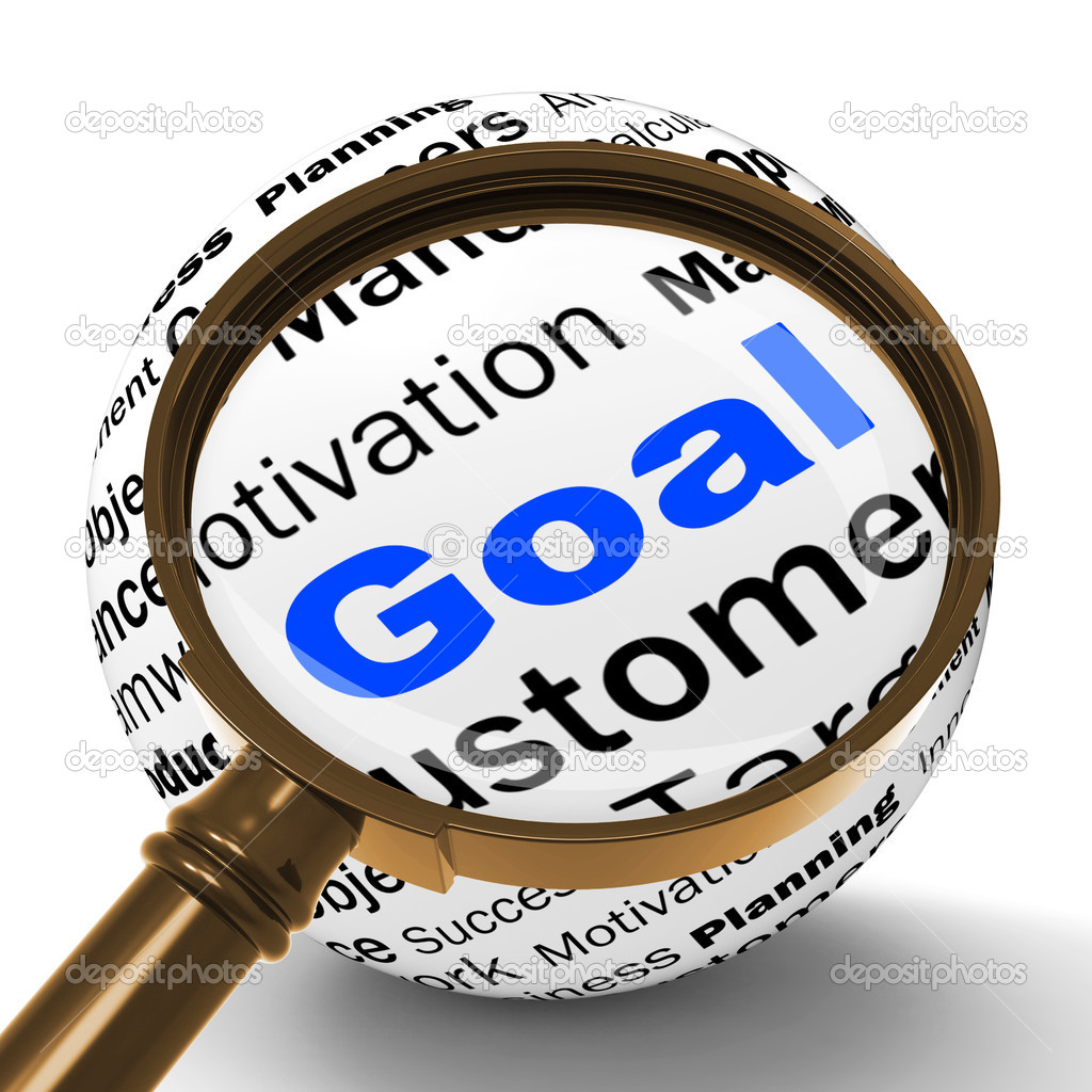 goal magnifier definition shows future aims and aspirations goal magnifier definition shows future aims and aspirations stock photo 47472839