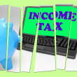 Income Tax Piggy Bank Means Taxation On Earnings — Stock Photo #47836741