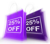 Twenty-Five Percent Off On Bags Shows 25 Bargains — Stock Photo
