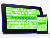 Investment Tablet Means Lending And Investing For Return — Stock Photo