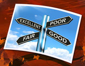 Excellent Poor Fair Good Sign Means Performance Review — Stock Photo