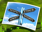 Respect Ethics Honest Integrity Sign Means Good Qualities — Stock Photo
