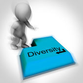 Diversity Keyboard Means Multi-Cultural Range Or Variance — Stock Photo