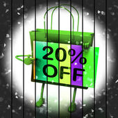 Twenty Percent Reduced On Bags Shows 20 Bargains — Stock Photo