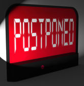 Postponed Digital Clock Means Delayed Until Later Time — Stockfoto
