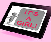 It's A Girl Tablet Means Announcing Female Baby — Stock Photo