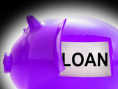 Loan Piggy Bank Message Means Money Borrowed Or Creditor — Stock Photo